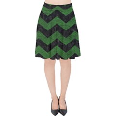 CHEVRON3 BLACK MARBLE & GREEN LEATHER Velvet High Waist Skirt
