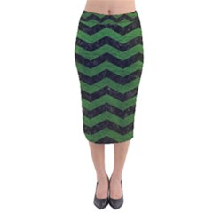 CHEVRON3 BLACK MARBLE & GREEN LEATHER Velvet Midi Pencil Skirt