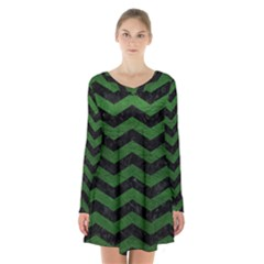 CHEVRON3 BLACK MARBLE & GREEN LEATHER Long Sleeve Velvet V-neck Dress