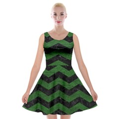 CHEVRON3 BLACK MARBLE & GREEN LEATHER Velvet Skater Dress