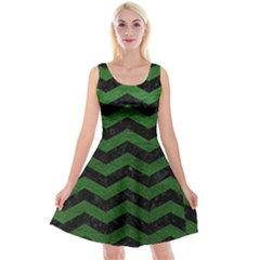 CHEVRON3 BLACK MARBLE & GREEN LEATHER Reversible Velvet Sleeveless Dress