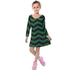 CHEVRON3 BLACK MARBLE & GREEN LEATHER Kids  Long Sleeve Velvet Dress