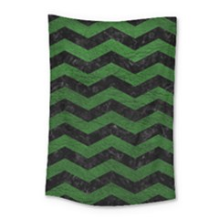 CHEVRON3 BLACK MARBLE & GREEN LEATHER Small Tapestry