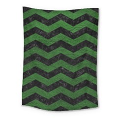 CHEVRON3 BLACK MARBLE & GREEN LEATHER Medium Tapestry