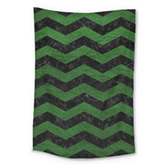 CHEVRON3 BLACK MARBLE & GREEN LEATHER Large Tapestry