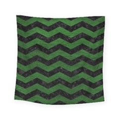 CHEVRON3 BLACK MARBLE & GREEN LEATHER Square Tapestry (Small)