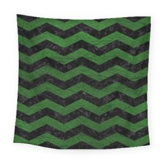 CHEVRON3 BLACK MARBLE & GREEN LEATHER Square Tapestry (Large)