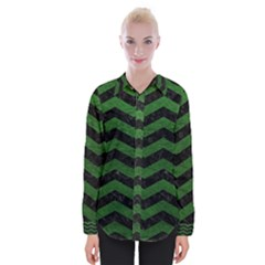 CHEVRON3 BLACK MARBLE & GREEN LEATHER Womens Long Sleeve Shirt