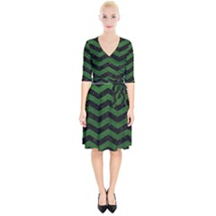CHEVRON3 BLACK MARBLE & GREEN LEATHER Wrap Up Cocktail Dress