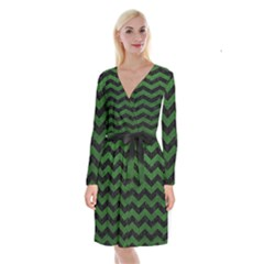 CHEVRON3 BLACK MARBLE & GREEN LEATHER Long Sleeve Velvet Front Wrap Dress