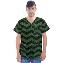 CHEVRON3 BLACK MARBLE & GREEN LEATHER Men s V-Neck Scrub Top