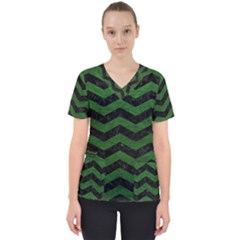 CHEVRON3 BLACK MARBLE & GREEN LEATHER Scrub Top