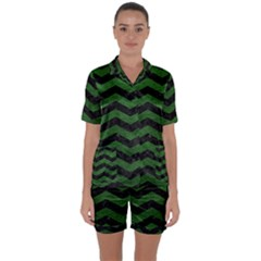 CHEVRON3 BLACK MARBLE & GREEN LEATHER Satin Short Sleeve Pyjamas Set