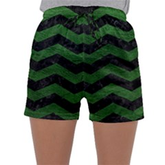 CHEVRON3 BLACK MARBLE & GREEN LEATHER Sleepwear Shorts