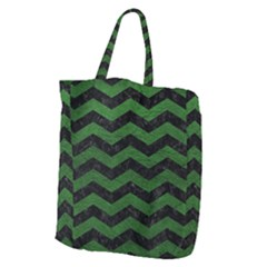 CHEVRON3 BLACK MARBLE & GREEN LEATHER Giant Grocery Zipper Tote