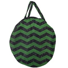 CHEVRON3 BLACK MARBLE & GREEN LEATHER Giant Round Zipper Tote