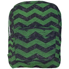 CHEVRON3 BLACK MARBLE & GREEN LEATHER Full Print Backpack