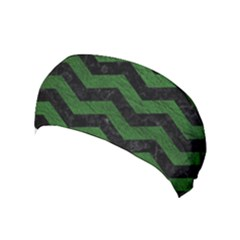CHEVRON3 BLACK MARBLE & GREEN LEATHER Yoga Headband