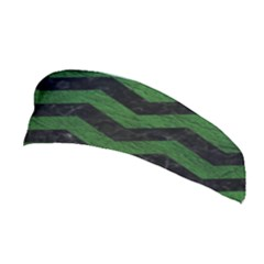 CHEVRON3 BLACK MARBLE & GREEN LEATHER Stretchable Headband