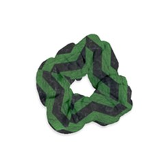 CHEVRON3 BLACK MARBLE & GREEN LEATHER Velvet Scrunchie