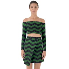 CHEVRON3 BLACK MARBLE & GREEN LEATHER Off Shoulder Top with Skirt Set