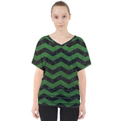 CHEVRON3 BLACK MARBLE & GREEN LEATHER V-Neck Dolman Drape Top