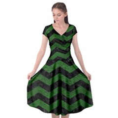 CHEVRON3 BLACK MARBLE & GREEN LEATHER Cap Sleeve Wrap Front Dress