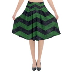 CHEVRON3 BLACK MARBLE & GREEN LEATHER Flared Midi Skirt