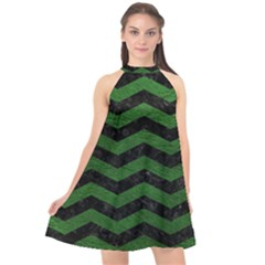 CHEVRON3 BLACK MARBLE & GREEN LEATHER Halter Neckline Chiffon Dress