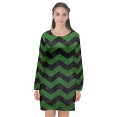 CHEVRON3 BLACK MARBLE & GREEN LEATHER Long Sleeve Chiffon Shift Dress