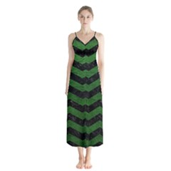 CHEVRON3 BLACK MARBLE & GREEN LEATHER Button Up Chiffon Maxi Dress