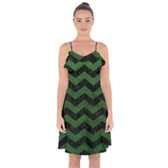 CHEVRON3 BLACK MARBLE & GREEN LEATHER Ruffle Detail Chiffon Dress