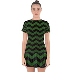 CHEVRON3 BLACK MARBLE & GREEN LEATHER Drop Hem Mini Chiffon Dress