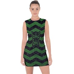 CHEVRON3 BLACK MARBLE & GREEN LEATHER Lace Up Front Bodycon Dress