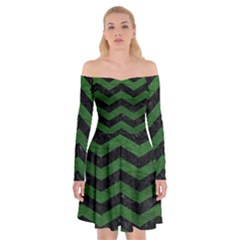 CHEVRON3 BLACK MARBLE & GREEN LEATHER Off Shoulder Skater Dress
