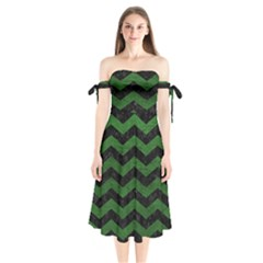 CHEVRON3 BLACK MARBLE & GREEN LEATHER Shoulder Tie Bardot Midi Dress