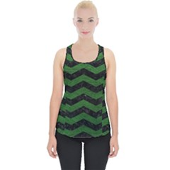 CHEVRON3 BLACK MARBLE & GREEN LEATHER Piece Up Tank Top