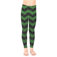 CHEVRON3 BLACK MARBLE & GREEN LEATHER Kids  Legging