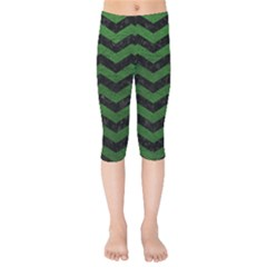 CHEVRON3 BLACK MARBLE & GREEN LEATHER Kids  Capri Leggings