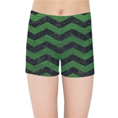 CHEVRON3 BLACK MARBLE & GREEN LEATHER Kids Sports Shorts