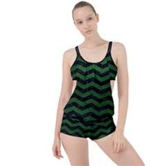 CHEVRON3 BLACK MARBLE & GREEN LEATHER Boyleg Tankini Set