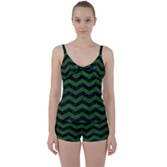 CHEVRON3 BLACK MARBLE & GREEN LEATHER Tie Front Two Piece Tankini