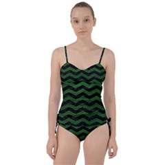 CHEVRON3 BLACK MARBLE & GREEN LEATHER Sweetheart Tankini Set