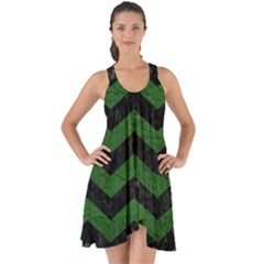 CHEVRON3 BLACK MARBLE & GREEN LEATHER Show Some Back Chiffon Dress