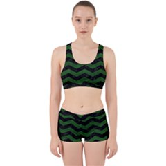 CHEVRON3 BLACK MARBLE & GREEN LEATHER Work It Out Sports Bra Set
