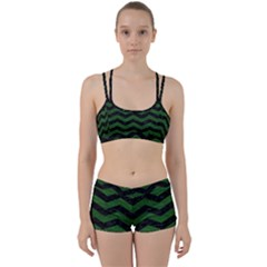 CHEVRON3 BLACK MARBLE & GREEN LEATHER Women s Sports Set