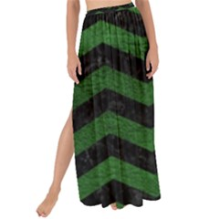 Chevron3 Black Marble & Green Leather Maxi Chiffon Tie Up Sarong