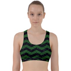 CHEVRON3 BLACK MARBLE & GREEN LEATHER Back Weave Sports Bra