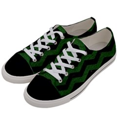 CHEVRON3 BLACK MARBLE & GREEN LEATHER Women s Low Top Canvas Sneakers