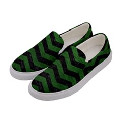 CHEVRON3 BLACK MARBLE & GREEN LEATHER Women s Canvas Slip Ons
